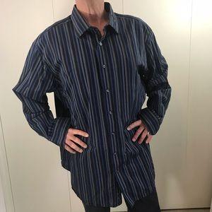 SYNRGY 2XL stripes shirt button down blue brown
